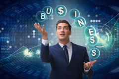 The businessman juggling between various priorities in business Royalty Free Stock Photography