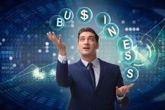 The businessman juggling between various priorities in business. Businessman juggling between various priorities in business Royalty Free Stock Photography