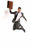 Businessman jump briefcase fall papers copy-space. Young businessman jumping with open briefcase falling papers copy-space isolated on white background stock image