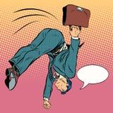 Businessman jump forward into the future. Pop art retro style. Business concept success. Humor. Kick Stock Images