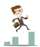 Businessman Jump Through The Gap In Growth Chart. Stock Photos