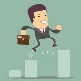 Businessman Jump Through The Gap In Growth Chart. Stock Image