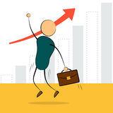 Businessman jump with growing chart Royalty Free Stock Images