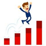 Businessman Jump His Way Up The Raising Chart Royalty Free Stock Photos