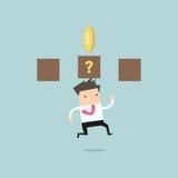 Businessman jump and hit a coin box. Vector illustration Royalty Free Stock Photos
