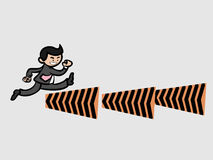 Businessman jump over the barriers. Businessman run and jumps over barriers Stock Photo
