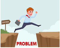 Businessman Jump Over Cliff Stock Images