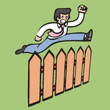 Businessman jump over fence Stock Photos