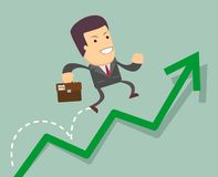Businessman jump over growing chart Royalty Free Stock Photo
