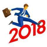 Businessman jump over number 2018 Stock Photo