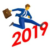 Businessman jump over number 2019. Stock Photo