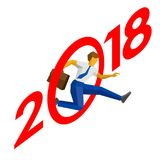 Businessman jump throw zero in number 2018. Man crosses the line, career success. New year concept for greeting card, poster or annual report. Isometric vector Stock Images