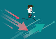 Businessman jump to the growth arrow. Royalty Free Stock Photo