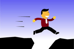 Businessman Jump to Higher Position, to get a better carreer Stock Photo