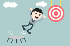 Businessman jump to target Royalty Free Stock Images