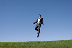 Businessman jumping Royalty Free Stock Photos