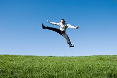 Businessman jumping Royalty Free Stock Images