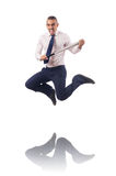 The businessman jumping with baseball bat Stock Images