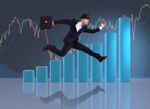 The businessman jumping in business concept Stock Photo