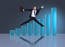 The businessman jumping in business concept Royalty Free Stock Images