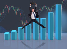 The businessman jumping in business concept Royalty Free Stock Image