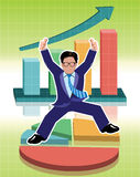 Businessman jumping with business graphs background Royalty Free Stock Images