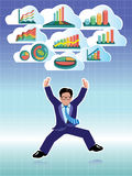 Businessman jumping with business graphs cloud set Stock Image