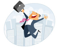 Businessman jumping with case Stock Image