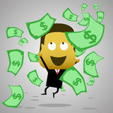 A businessman jumping and catching money falling from the sky Royalty Free Stock Photography