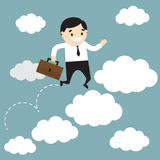 Businessman jumping on clouds and holding the office bag. Busine Stock Images