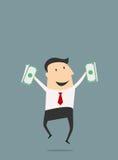 Businessman jumping with dollars Stock Photos