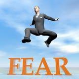 Businessman jumping upon fear word - 3D render. Businessman jumping upon fear word by beautiful day - 3D render stock illustration