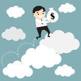 Businessman jumping on growing cloud chart and holding bag with Royalty Free Stock Image