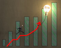 Businessman jumping on growth arrow with bar chart, glowing lamp. Businessman jumping on growth red arrow with bar chart and glowing lamp balloon on concrete Royalty Free Stock Photo
