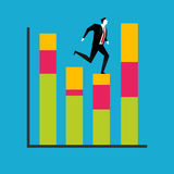 Businessman jumping on a growth chart. Business Improvement concept Stock Images