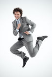 Businessman Jumping Happily Stock Image