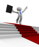 Businessman jumping high on a red carpet, 3d rendering. Businessman jumping high on a red carpet winner concept image, 3d rendering Stock Photo
