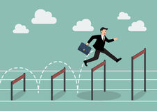 Businessman jumping higher over hurdle. Business concept Stock Photos