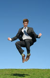 Businessman jumping for joy Stock Image