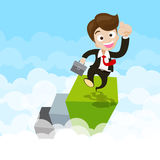 Businessman jumping with joy on green step over cloud Stock Photography