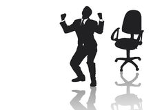Businessman jumping out of his armchair Royalty Free Stock Image