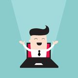 Businessman jumping out of laptop monitor. Vector illustration Royalty Free Stock Photography