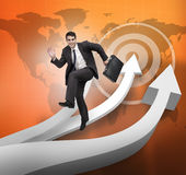 Businessman jumping over arrows and world map Stock Photo