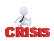 Businessman jumping over 'crisis' sign. . Contains clipping path Royalty Free Stock Photos