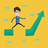 Businessman jumping over gap on arrow going up. Royalty Free Stock Photography