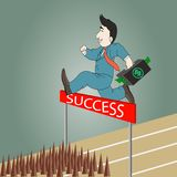 Businessman jumping over hurdle with briefcase Royalty Free Stock Images