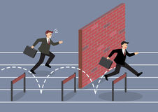 Businessman jumping over hurdle competition Stock Image