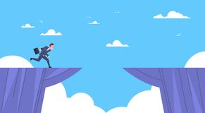 Businessman Jumping Over Mountain Gap Business Risk and Danger Concept. Flat Vector Illustration Royalty Free Stock Images