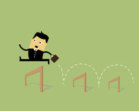 Businessman Jumping. Over obstacles successfully Stock Photos