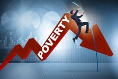 The businessman jumping over poverty in business concept Royalty Free Stock Photo
